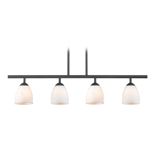 Design Classics Lighting Modern Island Light with White Glass in Matte Black Finish 718-07 GL1020MB