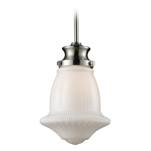 Elk Lighting Elk Lighting Schoolhouse Pendants Satin Nickel LED Mini-Pendant Light 69029-1-LED