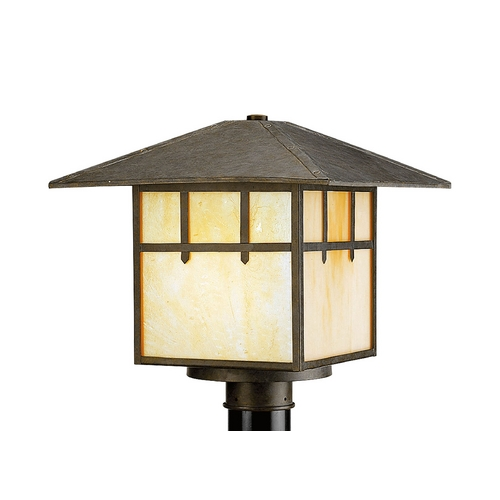 Progress Lighting Post Light with Beige / Cream Glass in Weathered Bronze Finish P5461-46