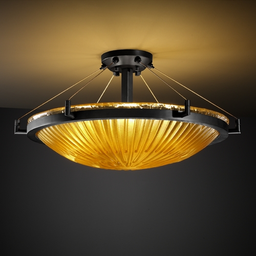 Justice Design Group Justice Design Group Veneto Luce Collection Semi-Flushmount Light GLA-9682-35-GLDC-MBLK