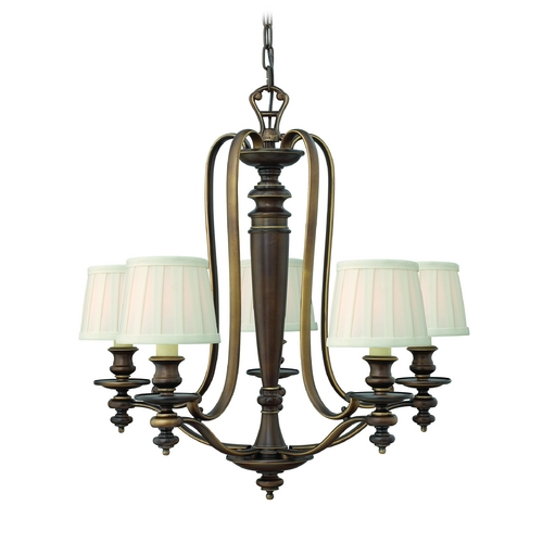 Hinkley Lighting Chandelier with White Shades in Royal Bronze Finish 4595RY