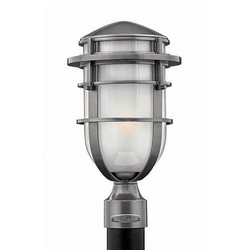 Hinkley Lighting Modern Post Light with White Glass in Hematite Finish 1951HE