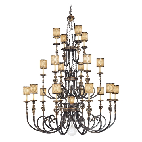 Metropolitan Lighting Chandelier with Amber Glass in Terraza Villa Aged Patina Finish N6487-270