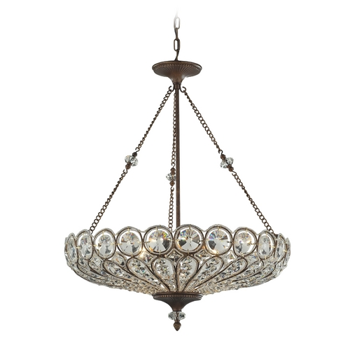 Elk Lighting Crystal Pendant Light in Mocha Finish 12025/6