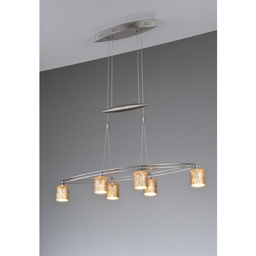 Holtkoetter Lighting Holtkoetter Modern Low Voltage Pendant Light with Orange Glass in Satin Nickel Finish 5506 SN G5030
