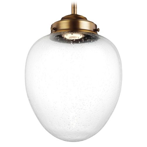 Feiss Lighting Feiss Lighting Alcott Aged Brass LED Mini-Pendant Light with Oval Shade P1399AGB-LED
