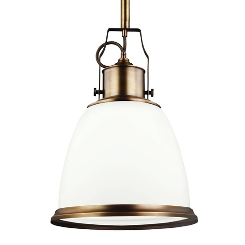 Feiss Lighting Feiss Hobson Aged Brass Pendant Light P1353AGB