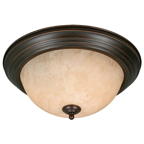 Golden Lighting Golden Lighting Rubbed Bronze Flushmount Light 1260-15 RBZ-TEA