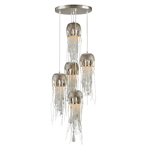 Currey and Company Lighting Currey and Company Medusa Nickel / Clear Multi-Light Pendant 9026