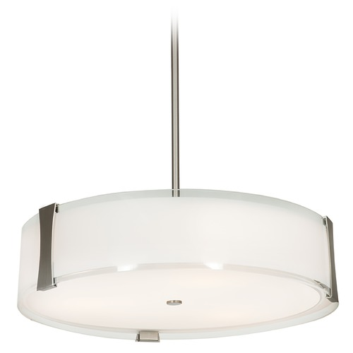 Access Lighting Access Lighting Tara Brushed Steel LED Pendant Light with Drum Shade 50123LEDD-BS/OPL