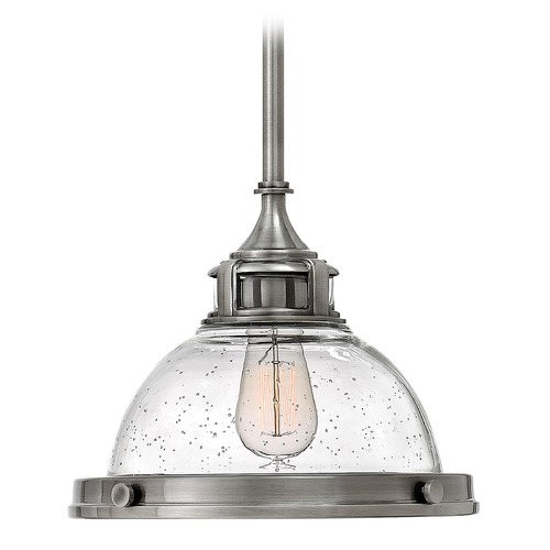 Hinkley Lighting Hinkley Lighting Amelia Polished Antique Nickel Mini-Pendant Light with Bowl / Dome Shade 3123PL