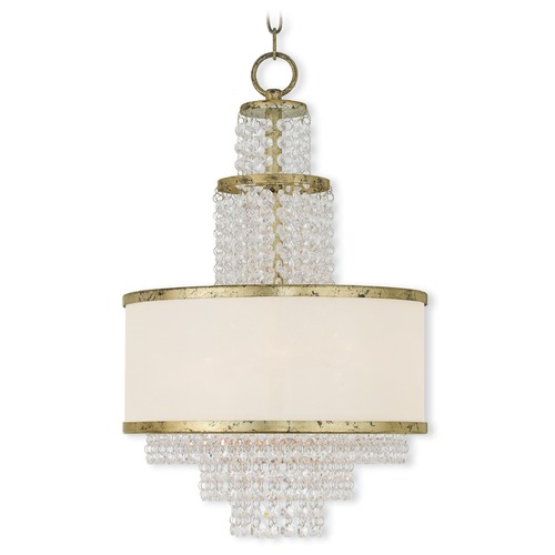 Livex Lighting Livex Lighting Prescott Hand Applied Winter Gold Pendant Light with Drum Shade 50784-28