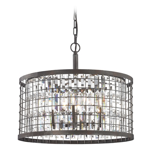 Elk Lighting Elk Lighting Nadina Silverdust Iron Pendant Light with Drum Shade 14344/6