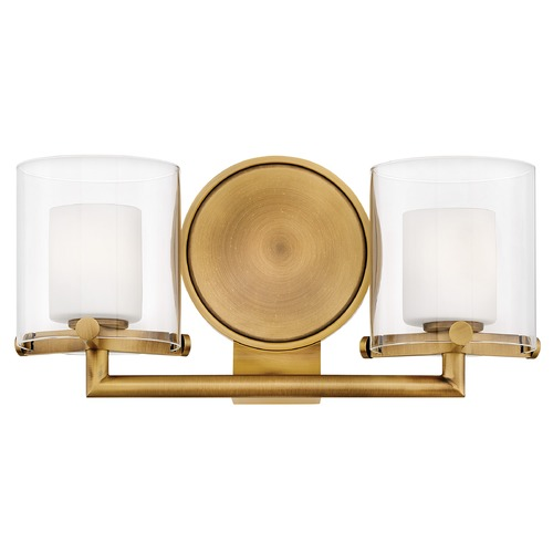 Hinkley Hinkley Rixon 2-Light Heritage Brass Bathroom Light with Clear and Opal Glass 5492HB