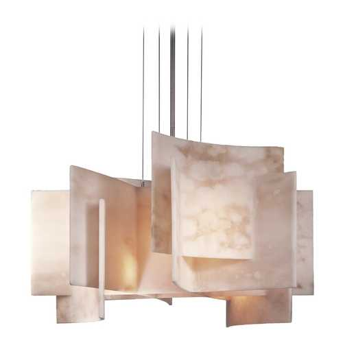 George Kovacs Lighting Modern Pendant Light with Alabaster Glass in Brushed Nickel Finish P382-084