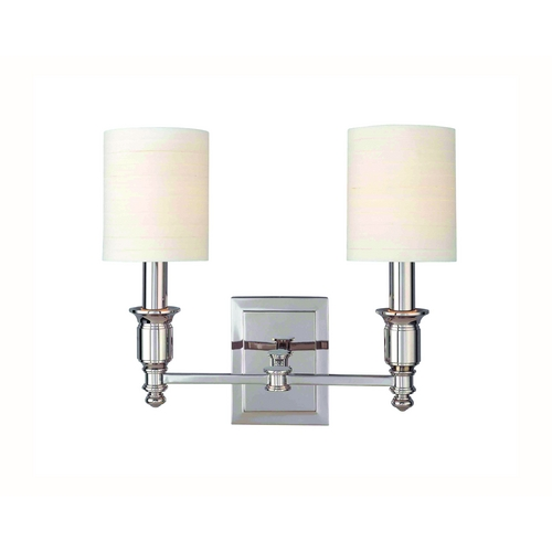 Hudson Valley Lighting Sconce Wall Light with White Shades in Polished Nickel Finish 7502-PN