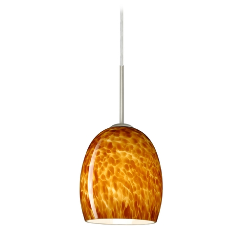 Besa Lighting Modern Pendant Light with Amber Glass in Satin Nickel Finish 1JT-169718-SN