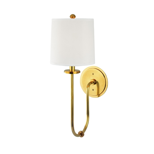 Hudson Valley Lighting Sconce Wall Light with White Shade in Aged Brass Finish 511-AGB
