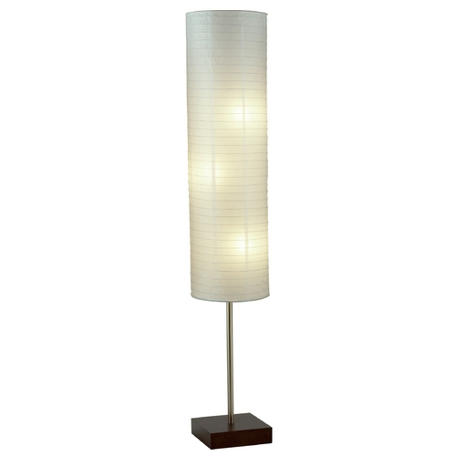 Adesso Home Lighting Modern Floor Lamp with White Paper Shades in Walnut Finish 4099-15