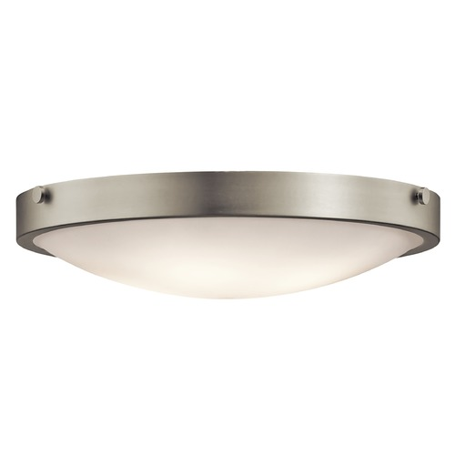 Kichler Lighting Kichler Flushmount Light with White Glass in Brushed Nickel Finish 42276NI