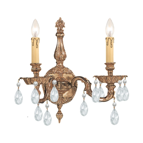Crystorama Lighting Crystal Sconce Wall Light in Olde Brass Finish 2502-OB-CL-SAQ