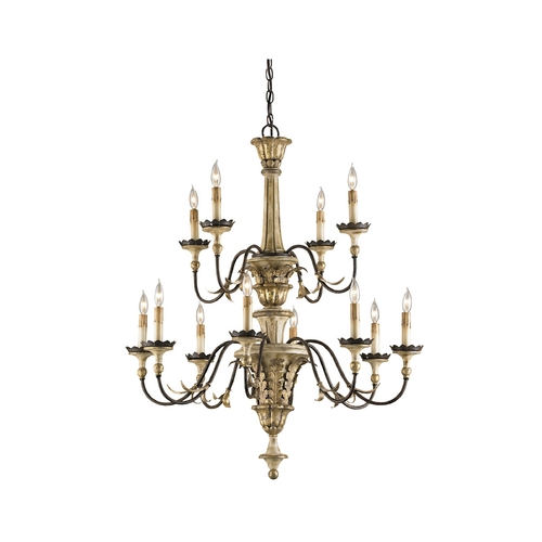 Currey and Company Lighting Chandelier in Ivory Brown/ Sicilian Gold Leaf Finish 9040