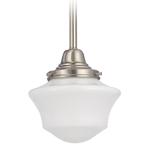 Design Classics Lighting 6-Inch Schoolhouse Mini-Pendant Light in Satin Nickel Finish FC3-09 / GC6