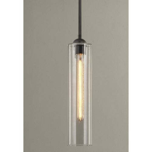 Design Classics Lighting Industrial Clear Glass Mini-Pendant Bronze 581-220 GL1640C
