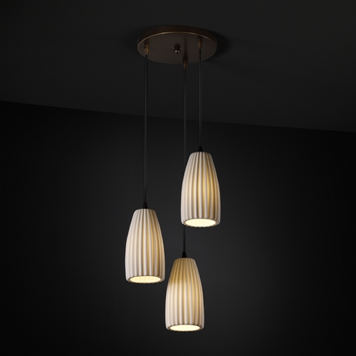 Justice Design Group Justice Design Group Limoges Collection Multi-Light Pendant POR-8864-28-PLET-DBRZ