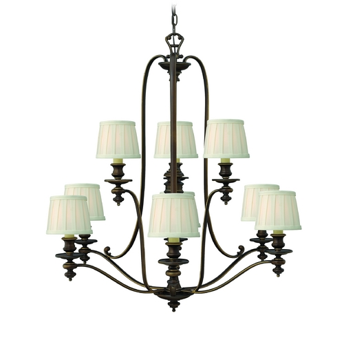 Hinkley Lighting Chandelier with White Shades in Royal Bronze Finish 4598RY