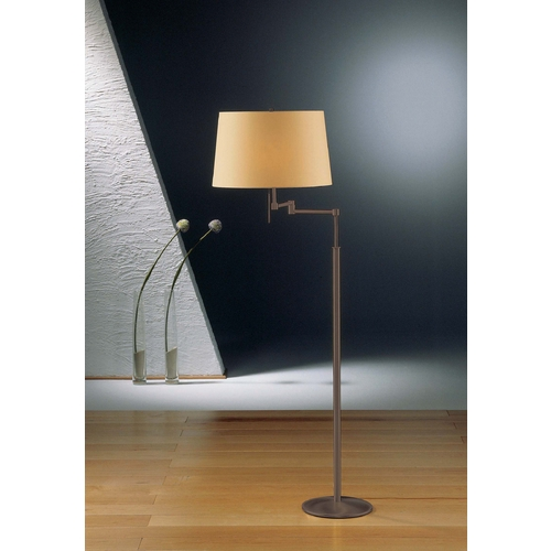 Holtkoetter Lighting Holtkoetter Modern Swing Arm Lamp with Beige / Cream Shades in Hand-Brushed Old Bronze Finish 2541 HBOB KPRG