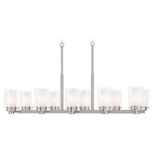 Livex Lighting Livex Lighting Manhattan Brushed Nickel Island Light with Cylindrical Shade 50679-91