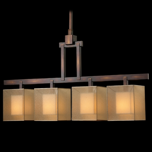 Fine Art Lamps Fine Art Lamps Quadralli Rich Bourbon with Golden Highlights Island Light with Square Shade 330540ST