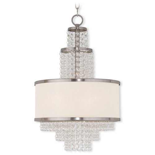 Livex Lighting Livex Lighting Prescott Brushed Nickel Pendant Light with Drum Shade 50784-91