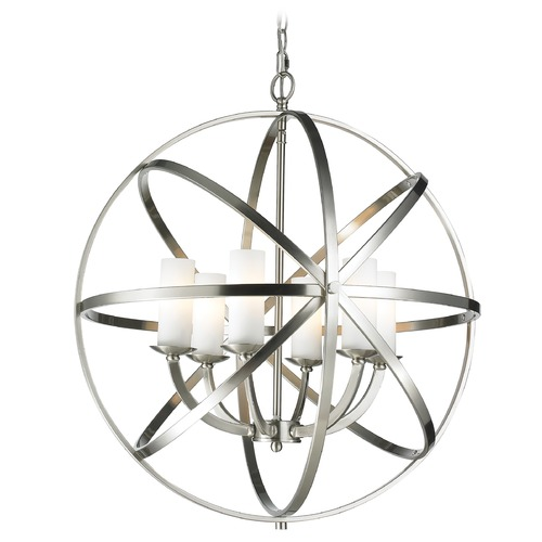 Z-Lite Z-Lite Aranya Brushed Nickel Pendant Light with Cylindrical Shade 6017-6L-BN