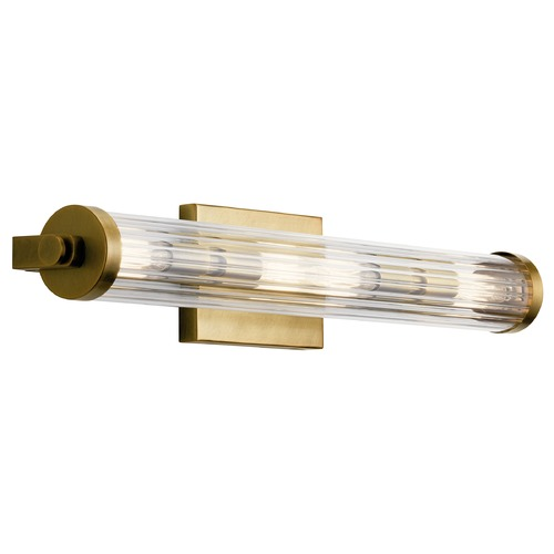 Kichler Lighting Azores Natural Brass 4-Light Bathroom Light with Fluted Clear Glass 45649NBR