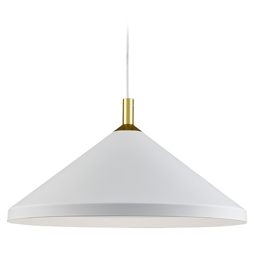 Kuzco Lighting Kuzco Lighting Dorothy White / Gold Pendant Light with Conical Shade 493118-WH/GD
