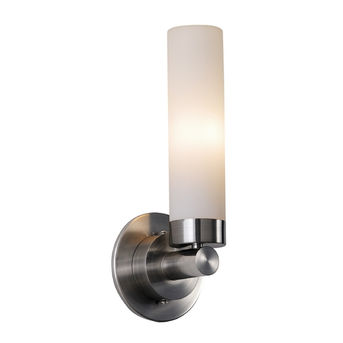 Maxim Lighting Modern Sconce Wall Light with White Glass in Satin Nickel Finish 53006WTSN