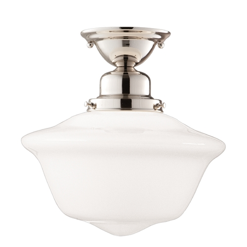 Hudson Valley Lighting Semi-Flushmount Light with White Glass in Polished Nickel Finish 1615F-PN