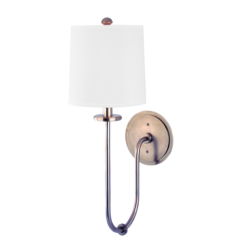 Hudson Valley Lighting Sconce Wall Light with White Shade in Historic Nickel Finish 511-HN