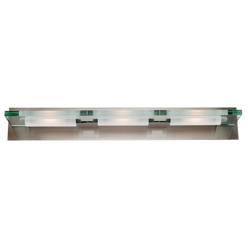 Access Lighting Modern Bathroom Light with Clear Glass in Brushed Steel Finish 62093-BS/12C