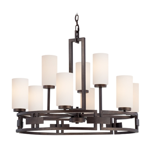 Designers Fountain Lighting Chandelier with White Glass in Flemish Bronze Finish 83889-FBZ