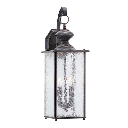 Sea Gull Lighting Outdoor Wall Light with Clear Glass in Textured Rust Patina Finish 8883-08