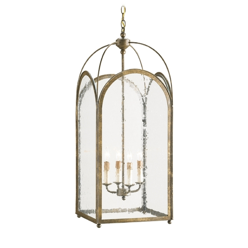 Currey and Company Lighting Pendant Light with White Glass in Rustic Gold Finish 9035