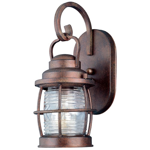 Kenroy Home Lighting Outdoor Wall Light with Clear Glass in Gilded Copper Finish 90951GC