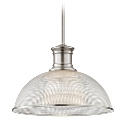 Design Classics Lighting Satin Nickel Pendant Light Prismatic Glass 13.13-Inch Wide 1761-09 G1780-FC R1780-09