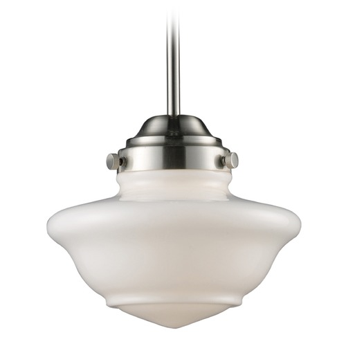 Elk Lighting Elk Lighting Schoolhouse Pendants Satin Nickel LED Mini-Pendant Light 69042-1-LED