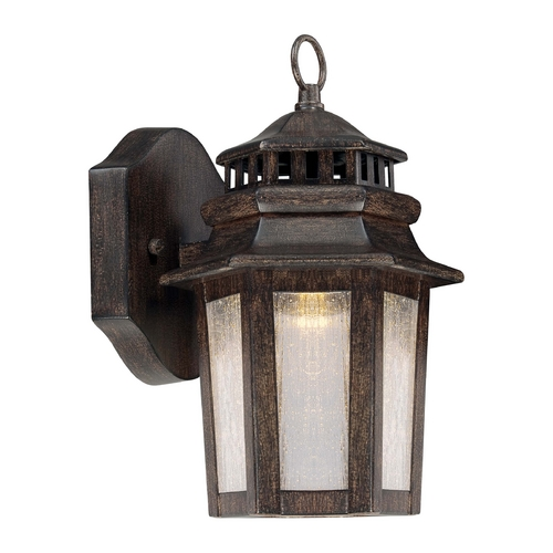 Minka Lavery LED Outdoor Wall Light with Clear Glass in Iron Oxide Finish 8271-A357-L