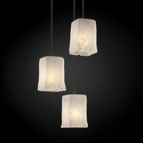 Justice Design Group Justice Design Group Veneto Luce Collection Multi-Light Pendant GLA-8864-26-WHTW-DBRZ