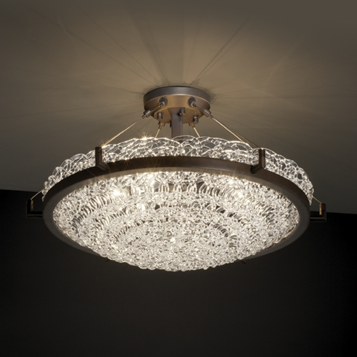 Justice Design Group Justice Design Group Veneto Luce Collection Semi-Flushmount Light GLA-9682-35-LACE-DBRZ